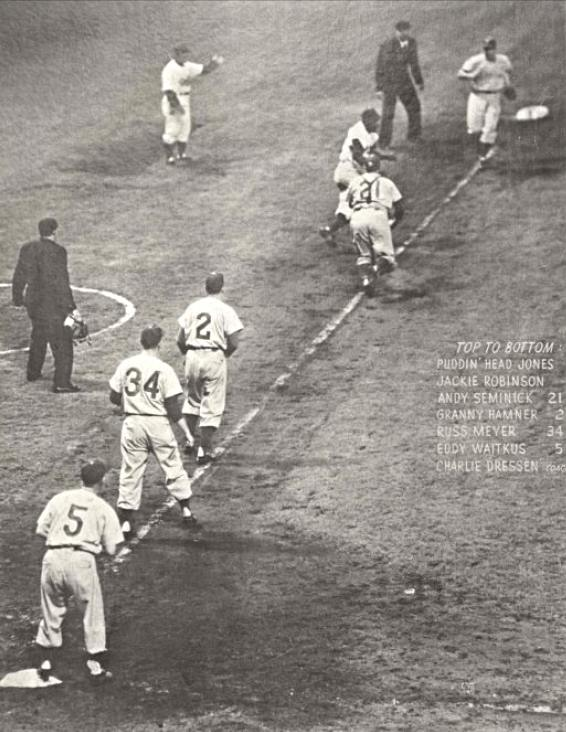 Jackie Robinson in charge of a rundown against the New York Giants