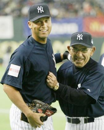 Yogi Berra and Derek Jeter in a casual moment