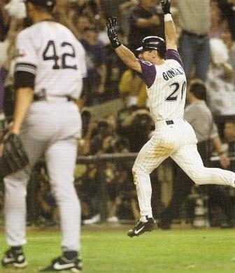 situational hitting at its best, game winning bloop single over the pulled in Yankees infield, 2001 World Series