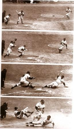 Stealing home, 1951 World Series.  All set up by the batters position in the box
