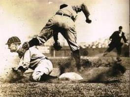 Ty Cobb, safe again, one of his 892 career stolen bases