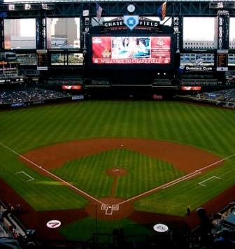 Chase Field ~ Home to the Arizona Diamondbacks.  Richie Sexson, longest homerun ever hit, hit the jumbo tron in dead center field, 503', 4/26/2004.