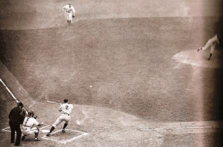 Red Rolfe, attempting to push a drag bunt past pitcher Dizzy Dean, 1938 World Series.