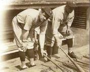 Babe Ruth on the left, Lou Gehrig on the right