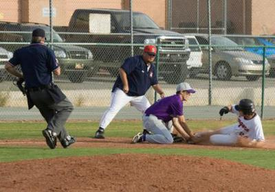 Home plate umpire covering third base.