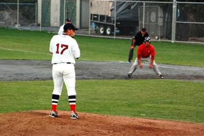 Pitcher On The Mound, In contact With The Rubber, Stretch Position