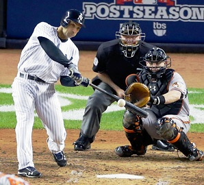 Raul Ibanez, head down, eyes on the baseball