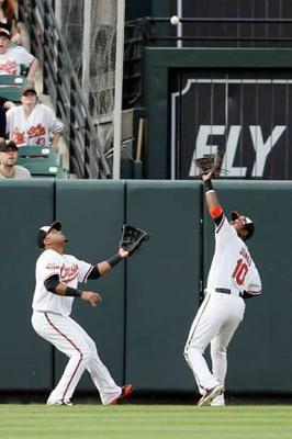 Fly ball priority, center fielder has priority over corner outfielders