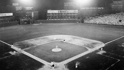 first night MLB game 1935, Cincinnati, Ohio