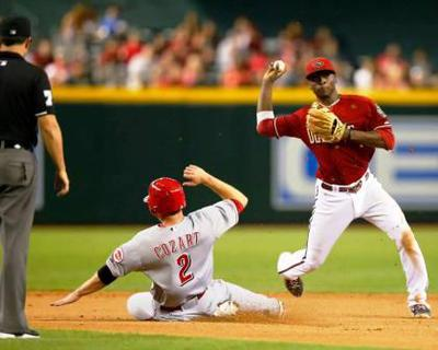 Shortstop has the momentum coming across towards first base.
